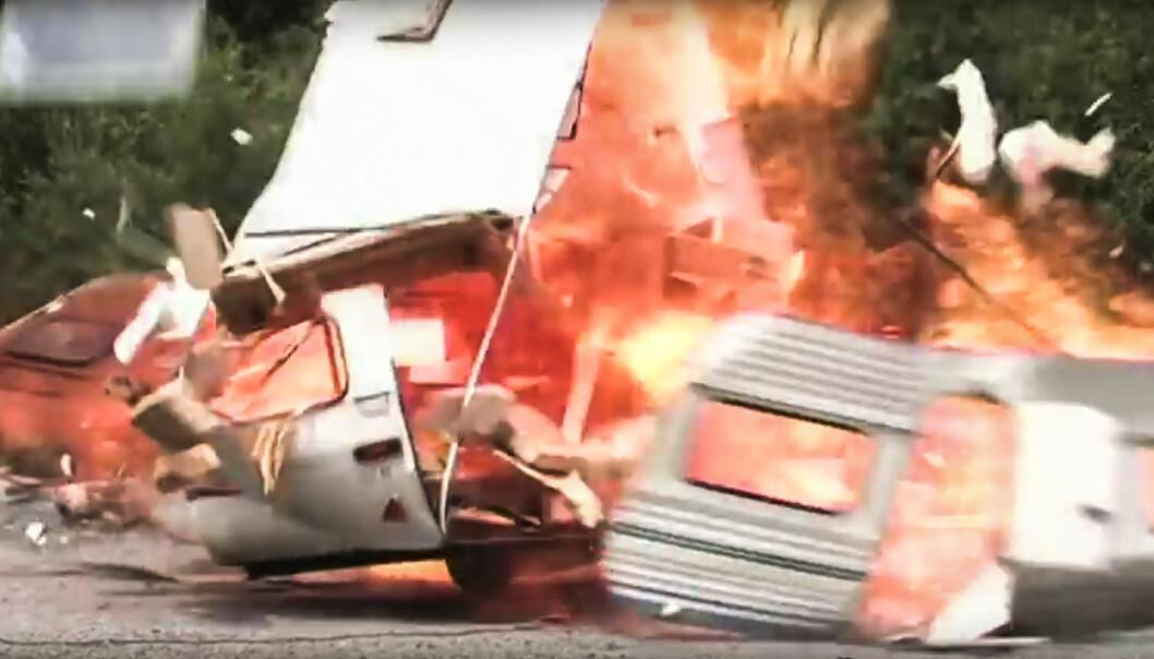 <strong>EKSPLOSJON:</strong> Gass som lekker ut av et anlegg trenger bare en liten gnist for å eksplodere. Foto: Youtube/NewsWire