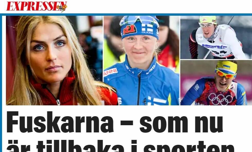 PÅ LISTA: Therese Johaug er blant dem som er på lista når svenske Expressen i dag skriver om tidligere dopingtatte langrennsløpere. Foto: Skjermdump Expressen