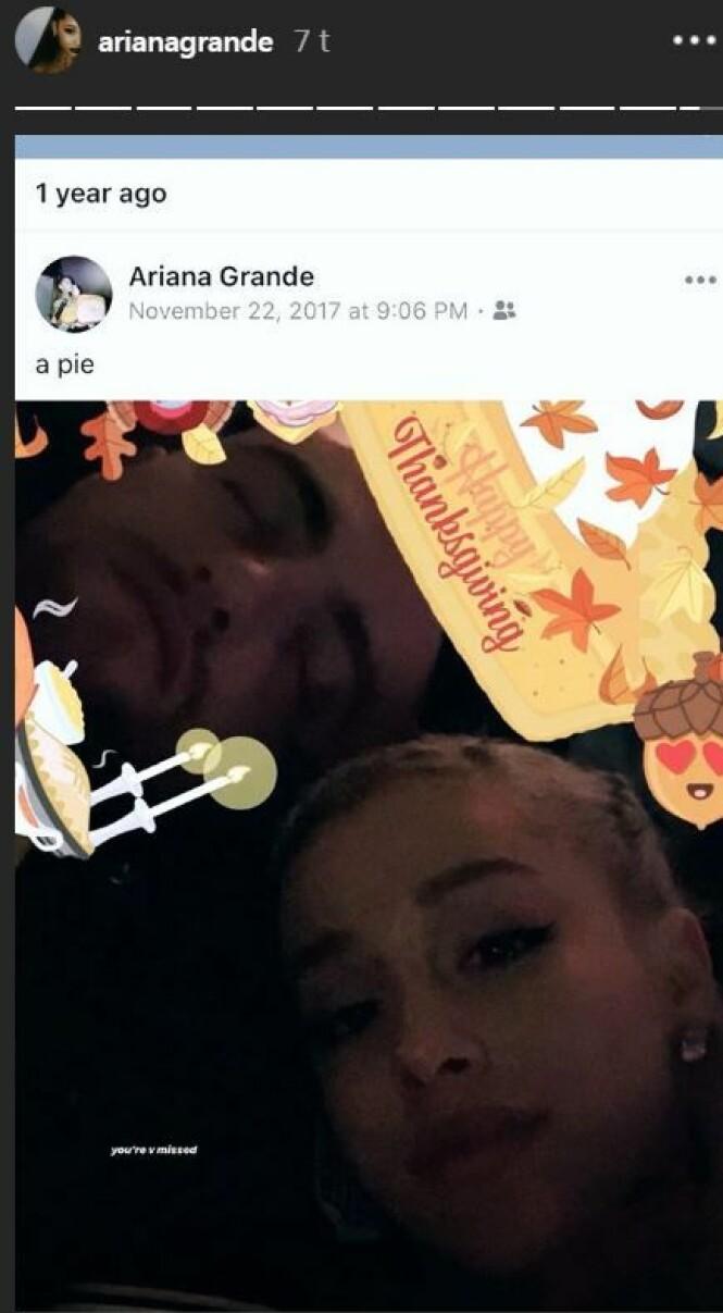 <strong>SAVNER EKSKJÆRESTEN:</strong> Ariana Grande delte et minne fra fjorårets Thanksgiving feiring sammen med ekskjæresten, avdøde Mac Miller.