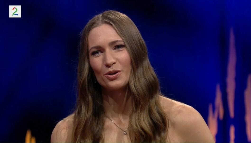 STOLT: Darja Domratsjeva forteller at hun er stolt av ektemannen, og at hun støtter ham i avgjørelsen om å legge opp. Foto: Skjermdump fra TV 2