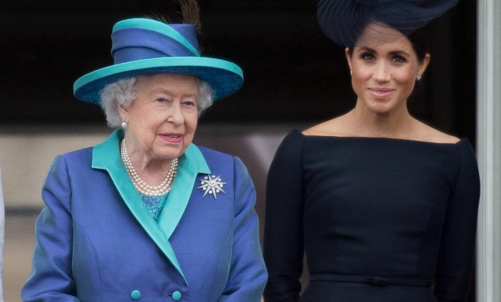 MEGHAN OG DRONNINGEN: For andre år på rad skal hertuginne Meghan (37) feire jul sammen med en britiske kongefamilien. Foto: REX/Shutterstock / NTB Scanpix