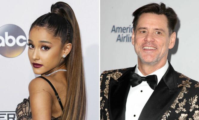 ALDERSFORSKJELL: Aldersforskjellen på 31 år ser slett ikke ut til å være et problem for Ariana Grande som gjentatte ganger har uttrykt sine varme følelser for Jim Carrey. FOTO: Scanpix