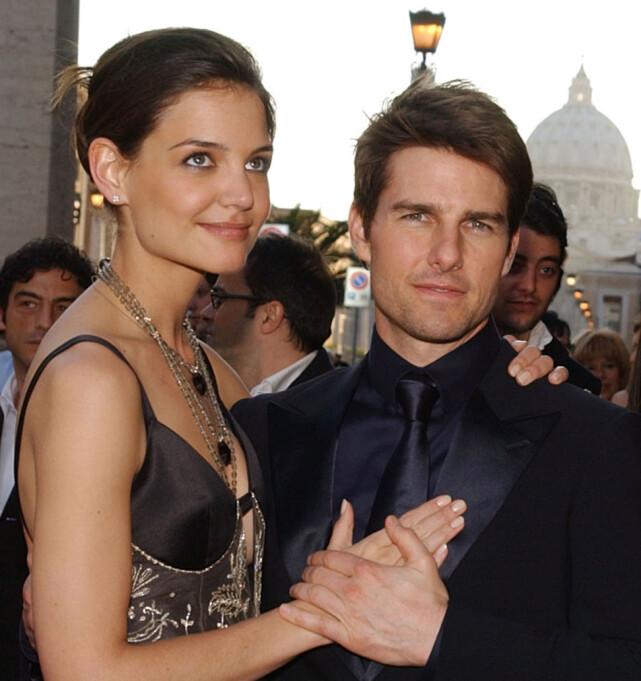 TREDJE KONA: Katie Holmes og Tom Cruise var gift i fem og et halvt år før de skilte lag. Her sammen i 2005. Foto: NTB Scanpix