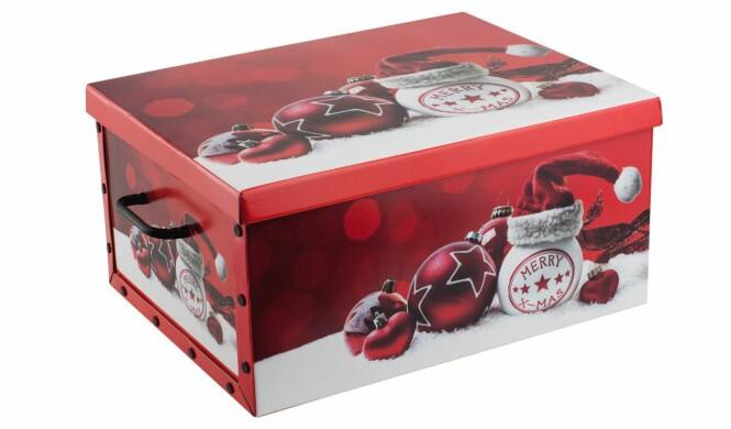 <strong>TA VARE PÅ PYNTEN:</strong> Koselig oppbevaringsboks til julepynt. Leveres i ulike julemotiv. Foto: Europris.