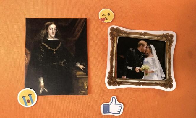 FESTFOREDRAG: Journalistens foredrag om de kongelige slekter ble fremført på flanellograf, og beveget seg sømløst i det fjærlette landskapet mellom 1500-tallet og data-alderen. Her ser vi den siste Habsburgerkongen (t.v.) som skal ha vært et resultat av generasjoner med innavl. Til høyre den langt lykkeligere prins Harry og hans Meghan. FOTO: Hege Løvstad Toverud