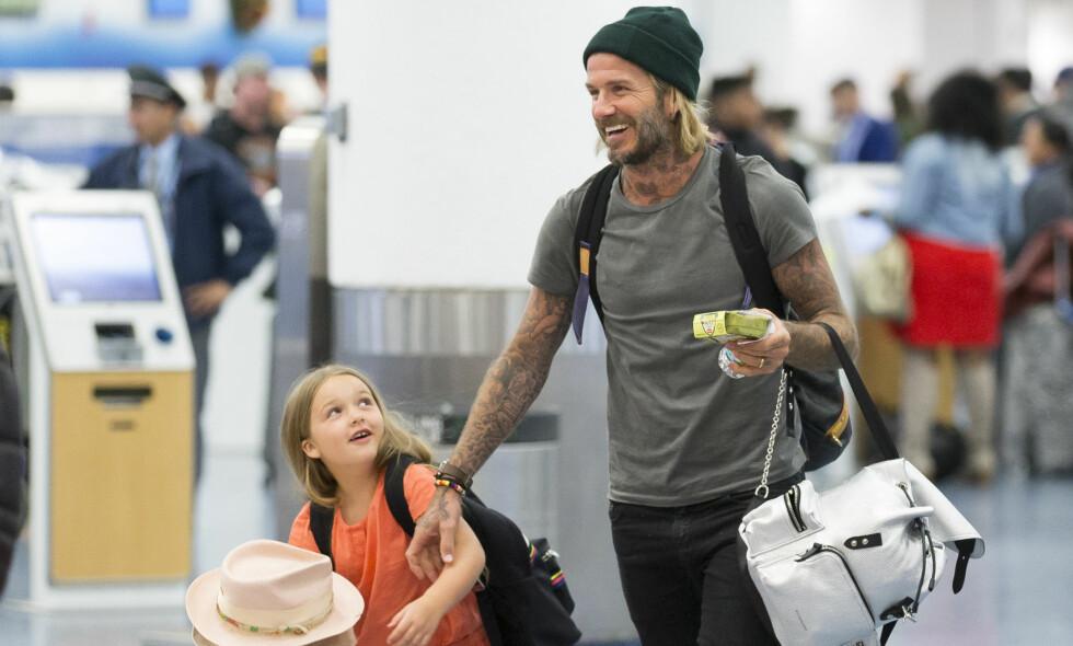 FÅR HØRE DET: I sosiale medier har David Beckham delt et nytt bilde med datteren, Harper. Det er det ikke alle som er like fornøyde med. Foto: NTB Scanpix