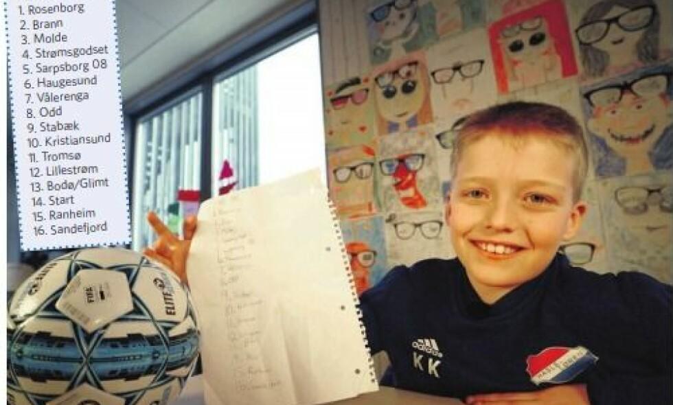 SLO AVISENE: Elleve år gamle Kristians tabelltips var nærmere fasiten enn noen av ekspertene sine tips. Foto: Nicolai Delebekk