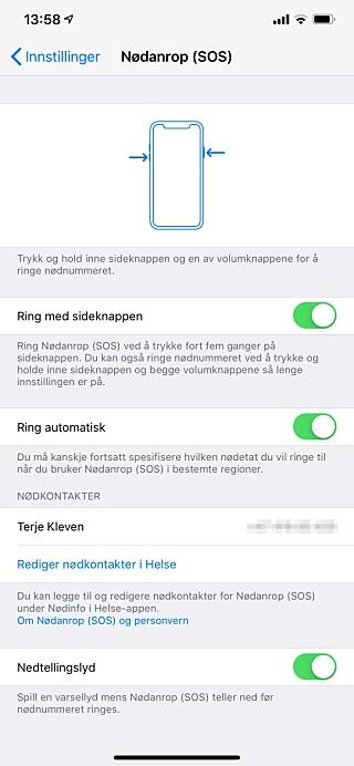 TILPASS NØDANROP: Du har tre innstillingsmuligheter i iPhone-innstillingene. Skjermbilde: Kirsti Østvang