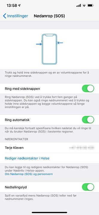 <strong>TILPASS NØDANROP:</strong> Du har tre innstillingsmuligheter i iPhone-innstillingene. Skjermbilde: Kirsti Østvang