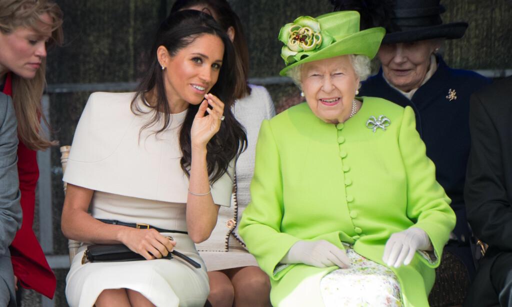 GRAVID: Hertuginne Meghan venter sitt første barn med prins Harry. Dronning Elizabeth tar avstand fra et svært sentralt ord i forbindelse med familieforøkelsen. Foto: NTB Scanpix