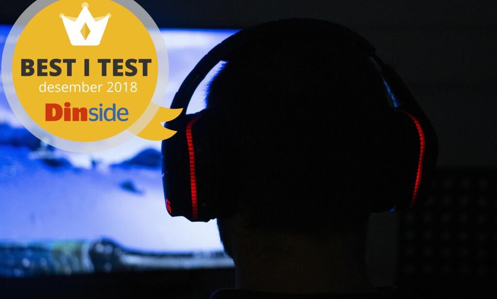 SPILLHODESETT: Vi testet fem trådløse spillhodesett. Best i test-stempelet får Logitech G933. Foto: Pål Joakim Pollen.