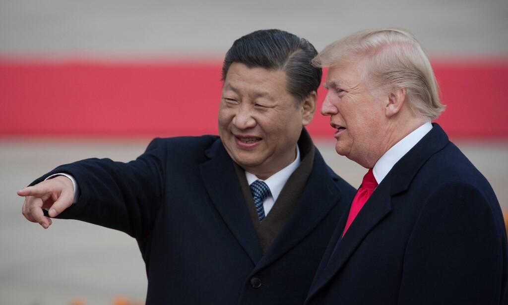 VISER VEI: Kines president Xi Jinping og USAs president Donald Trump. De viser vei i det globale våpenkappløpet. Foto: AFP / NTB Scanpix