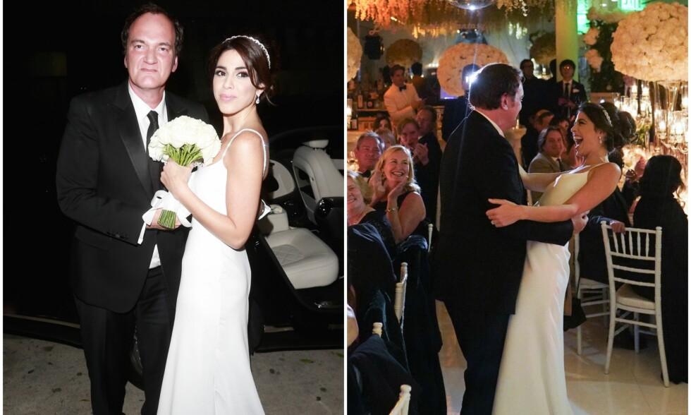 MANN OG KONE: Onsdag denne uken lovet Quentin Tarantino og Daniella Pick hverandre evig troskap. Bildene er fra bryllupsdagen. Foto: NTB Scanpix