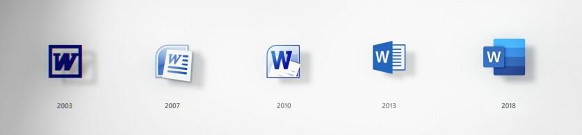 Slik har Word-ikonet forandret seg opp gjennom årene. Foto: Microsoft.