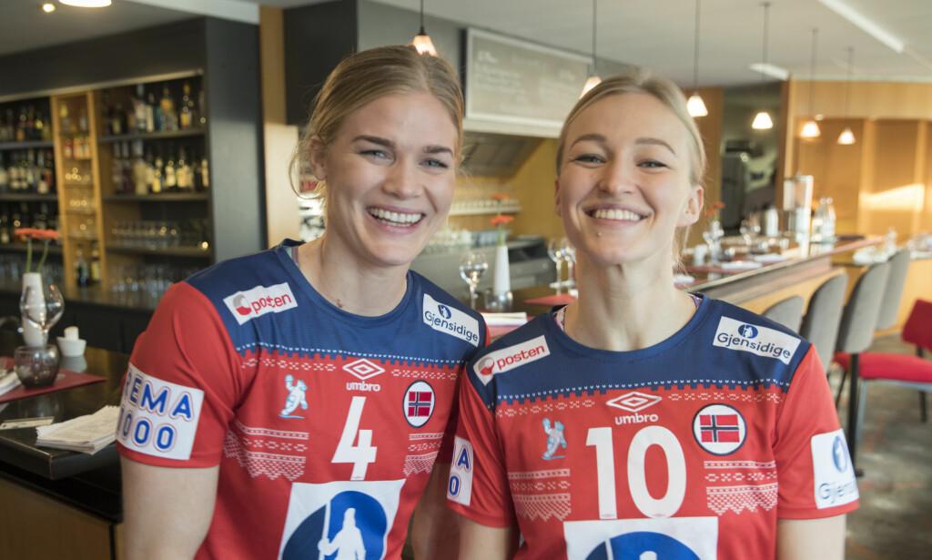 PROFILER: Veronica Kristiansen og Stine Bredal Oftedal dagen før første kamp mot Tyskland.  Foto: Vidar Ruud / NTB scanpix