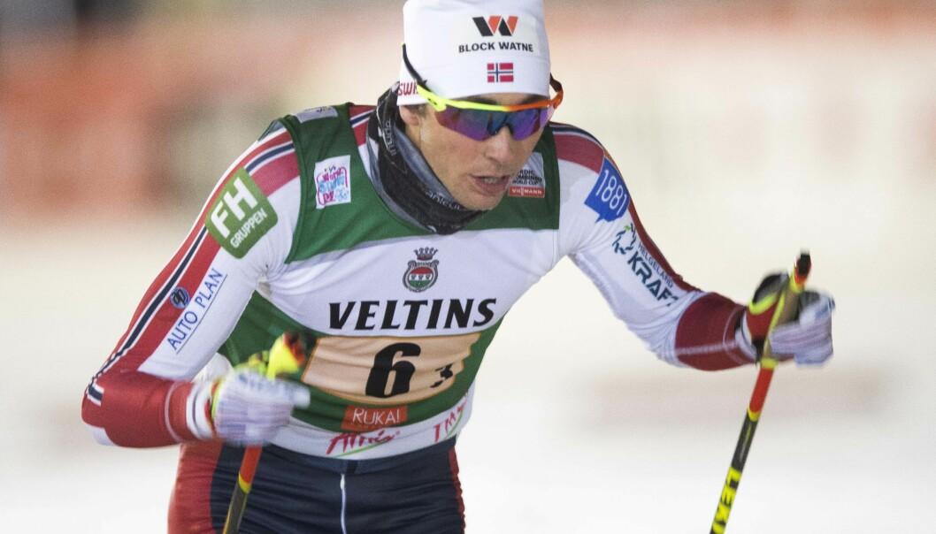 <strong>SEIER:</strong> Jarl Magnus Riiber vant verdenscuprennet på Lillehammer fredag. Foto: Terje Pedersen / NTB scanpix