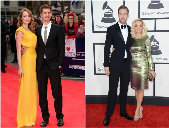 EKS-KJÆRESTER: Mens Andrew Garfield tidligere var kjæreste med Hollywood-stjernen Emma Stone, så var Rita Ora sammen med stjerne-DJen Calvin Harris. Begge bildene av eks-parene er tatt på to ulike eventer i Los Angeles i 2014. Foto: NTB Scanpix