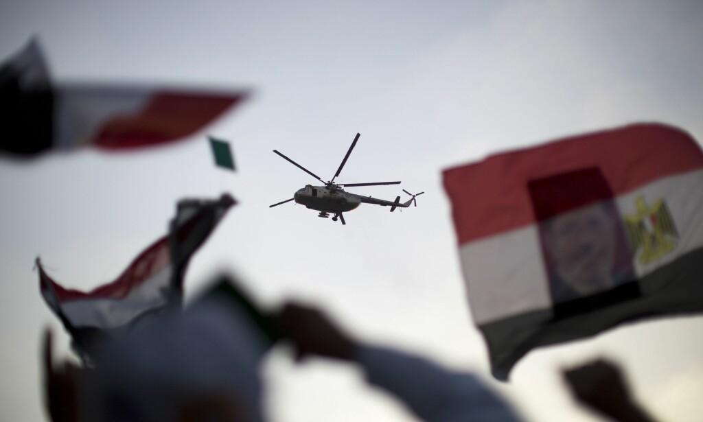 HELIKOPTER: Etter å ha sett innholdet på britiske Muhammed Fathi Abulkasem (19) var ikke de egyptiske grensevaktene i tvil. Nå er han siktet for spionasje. Bildet er tatt ved en annen anledning. Foto: AFP Photo / NTB Scanpix