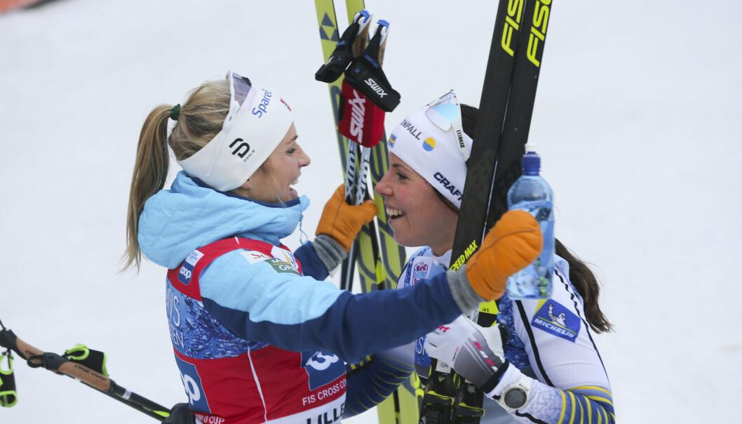 <strong>NORSK SEIER:</strong> Vinterens duell i kvinnelangrenn blir Sverige mot Norge. Da gjelder det å holde like fin tone som utøverne. FOTO: Geir Olsen / NTB scanpix.