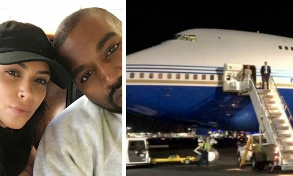 KRITIKKSTORM: Internett er i harnisk etter at ekteparet Kardashian West leide inn et av verdens største fly for en privat tur. Foto: Kim Kardashian / Instagram