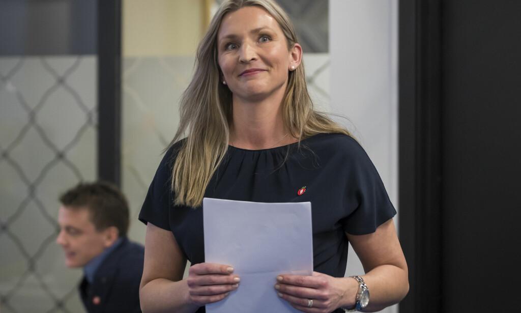 UTFORDRER: Tone Liljeroth håpet å gå fra 21. til 1. plass på lista, og lykkes nesten. Hun har tung erfaring fra politikken, men ikke fra Oslo og tapte i andre voteringsrunde mot Aina Stenersen. Foto: Heiko Junge / NTB scanpix