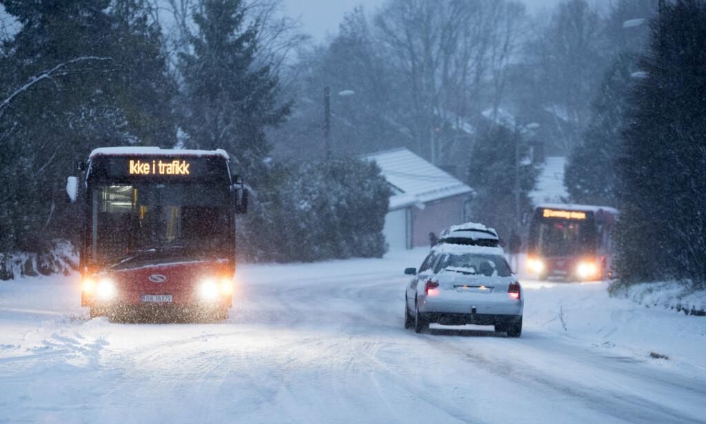 SNØ: Noen steder i landet vil snøen falle denne uka. Men den blir trolig ikke liggende. Foto: NTB Scanpix