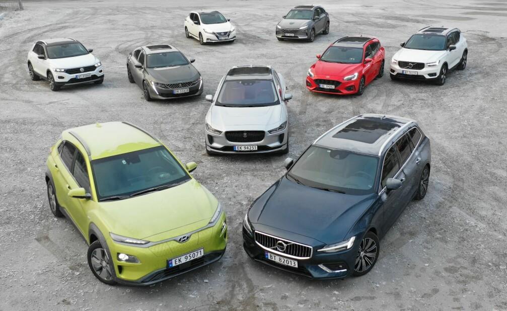 Vinneren: Jaguar i-Pace er her omkranset av konkurrentene i kåringen av Årets Bil 2019. Foto: Fred Magne Skillebæk