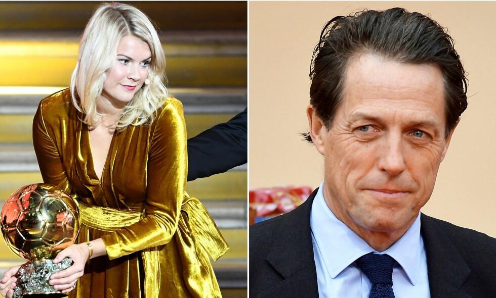 TOK TIL TWITTER: Den verdenskjente skuespillerstjernen Hugh Grant tok norske Ada Hegerberg i forsvar etter «twerke»-kommentar. Foto: NTB Scanpix