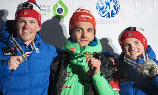 JUNIORVERDENSMESTER: I februar 2017 vant Janosch Brugger gull i junior-VM foran Petter Stakston og Herman Martens Meyer på sprinten. Foto: Bildbyrån