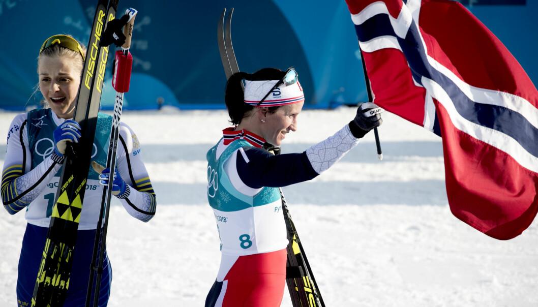 OVERRASKENDE TAP: Majoriteten trodde at Stina Nilsson skulle spurtslå Marit Bjørgen på kvinnestafetten i OL. Men nå er Bjørgen ute av idretten, og Norge må finne en ny ankerkvinne. Det er enklere sagt enn gjort. Foto: Bildbyrån