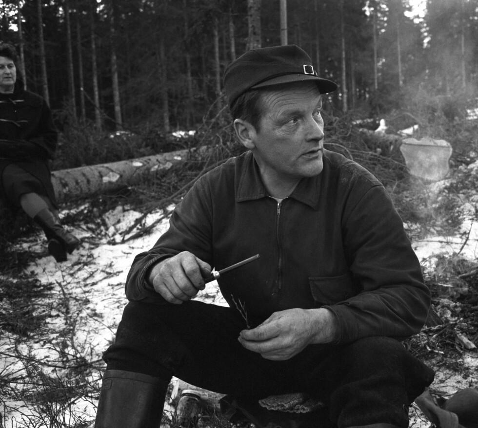 TØMMERHOGGER: Hans Børli på hogstfeltet i 1965. I bakgrunnen til venstre kona Magnhild, hans livslange kjærlighet. Foto: NTB Scanpix