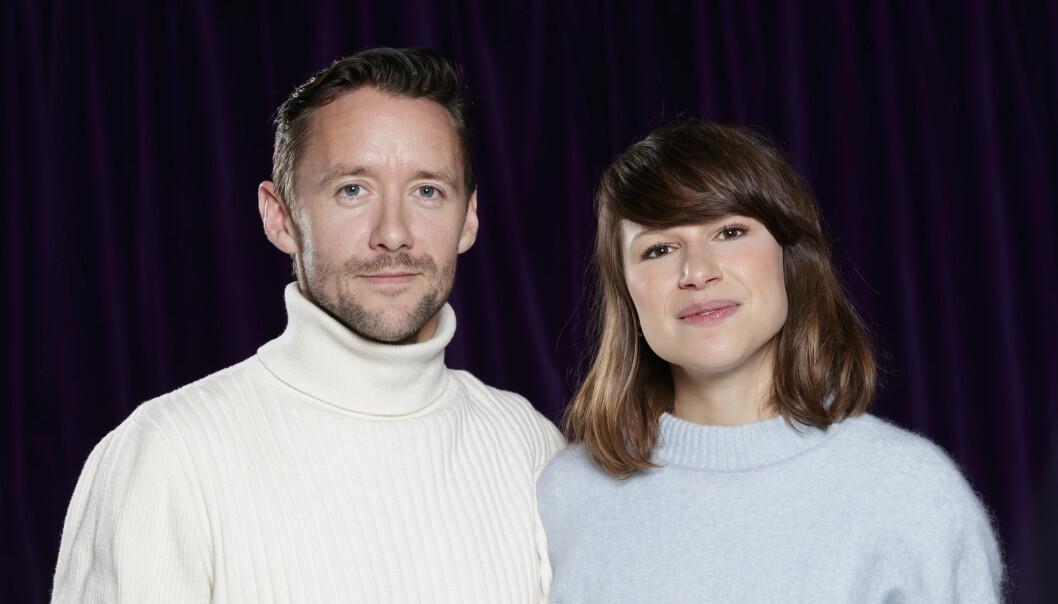 UNDERHOLDNING: Skuespillerne Thomas Gullestad og Kathrine Thorborg Johansen spiller side om side i TVNorge-serien «Oljefondet». Her fra presselanseringen i desember. FOTO: NTB Scanpix