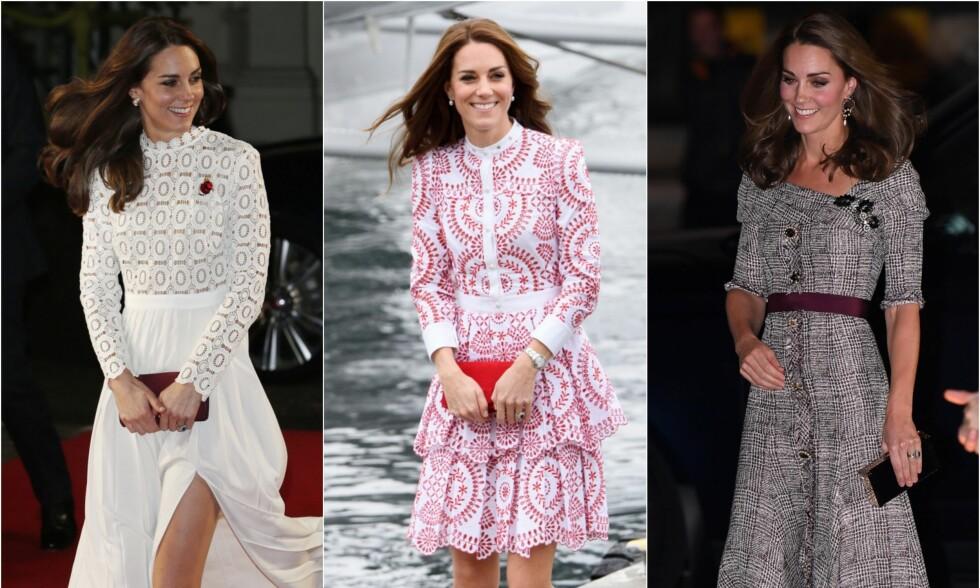 STILSIKKER: Hertuginne Kate har for lengst blitt et stilikon verden over. Og hun har en rekke ulike og lekre vesker og clutcher. Men hva inneholder de egentlig? Foto: NTB Scanpix