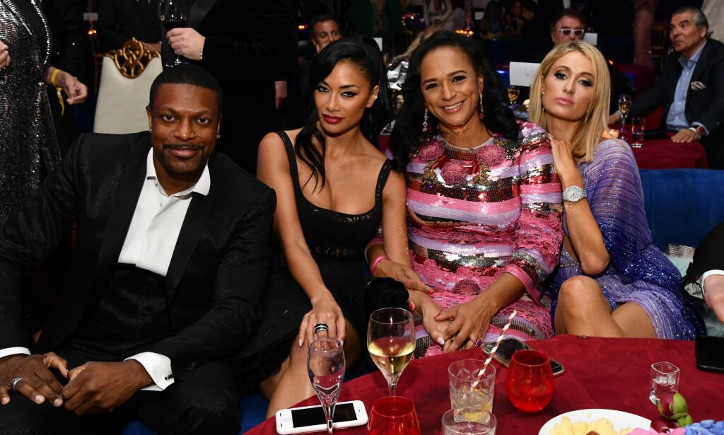 AFRIKAS RIKESTE: Isabel dos Santos sammen med Chris Tucker, Nicole Scherzinger og Paris Hilton tidligere i år. Foto: Stella Pictures