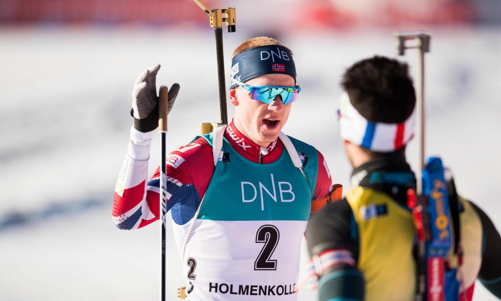 SUPERFORM: Johannes Thingnes Bø smadret konkurrentene i sporet på sprinten i Pokljuka og vant en ny verdenscupseier. Foto: Bildbyrån