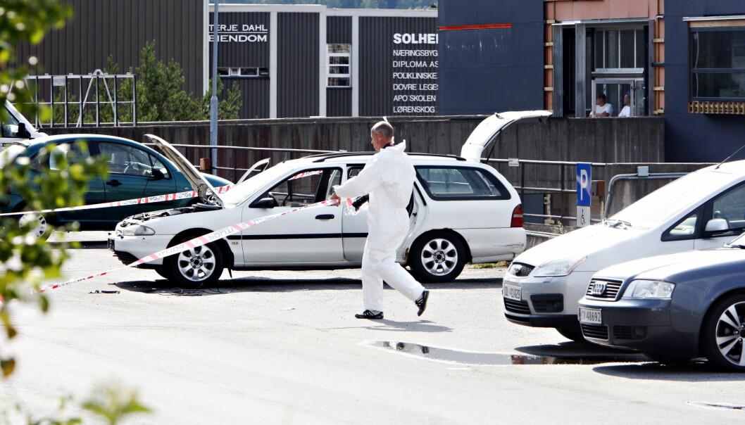 DRAMATISK: Mannen som nå er siktet for drapsforsøk etter å ha sendt ei bombe til politihuset i Ski ble i 2010 dømt for å ha parkert en bil med eksplosiver ved Lørenskog lensmannskontor og true med å sprenge den i lufta. Han forhandlet da med politiet slik at bomba ikke gikk av. Foto: Frank Karlsen / Dagbladet