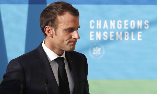 UNDER PRESS: Frankrikes president Emmanuel Macron. Foto: NTB Scanpix