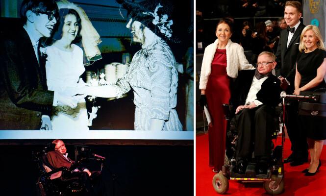 EN AV VERDENS SMARTESTE: Stephen Hawking var regnet som en av verdens aller største genier. Her med ekskona Jane Wilde og barna Timothy og Lucy (til høyre). Bildet til venstre viser Jane og Stephen Hawkings på bryllupsdagen i 1965. FOTO: NTB Scanpix