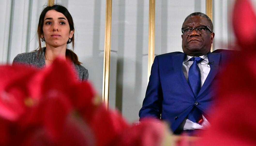 <strong>VINNERE:</strong> Den unge irakeren Nadia Murad Basee Taha og den kongolesiske legen Denis Mukwege er årets fredsprisvinnere. Foto: NTB Scanpix