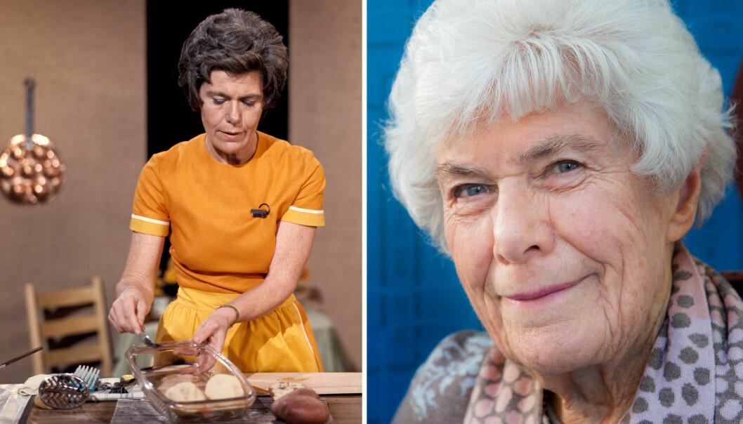 «SÅ JUKSA ME LITT»: Hele Norges hustellærer Ingrid Espelid Hovig lærte oss at det er lov å jukse litt på kjøkkenet - i alle fall om det er under TV-opptak. I over 30 år lagde hun 300 episoder av Fjernsynskjøkkenet på NRK. Bildet til venstre er tatt i 1974. FOTO: NTB Scanpix