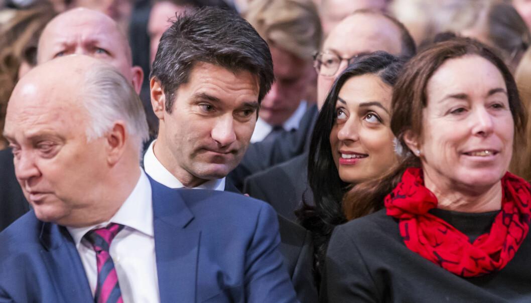 FØRSTE GANG: Det er første gang Hadia Tajik og Kristian Skard har vist seg sammen på et offentlig arrangement. Foto: NTB Scanpix
