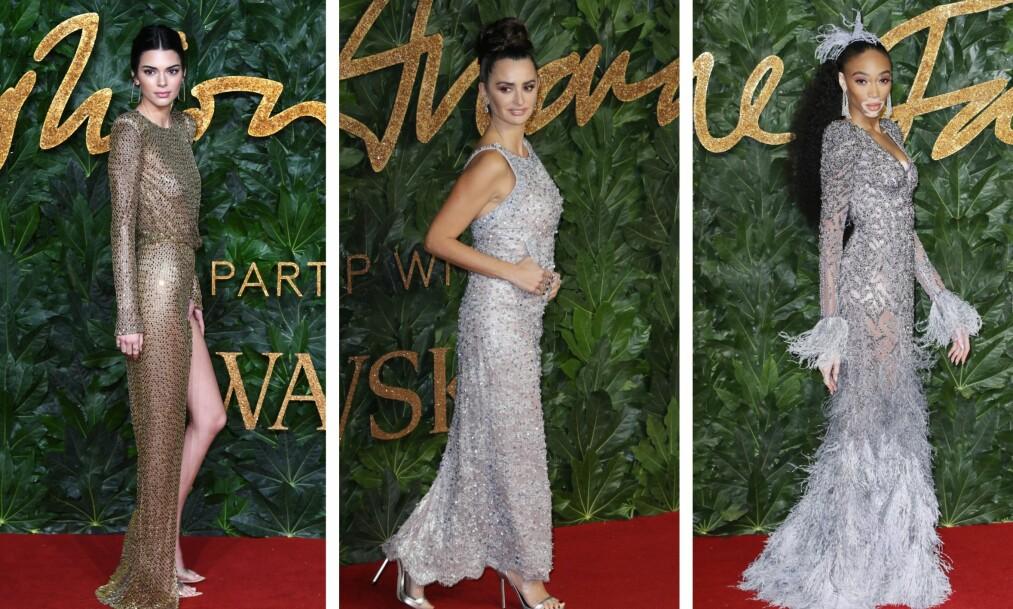 RØD LØPER: Stjernene strålte under British Fashion Awards mandag kveld. Her glitrer Kendall Jenner, Penelope Cruz og modell Winnie Harlow. Foto: NTB Scanpix