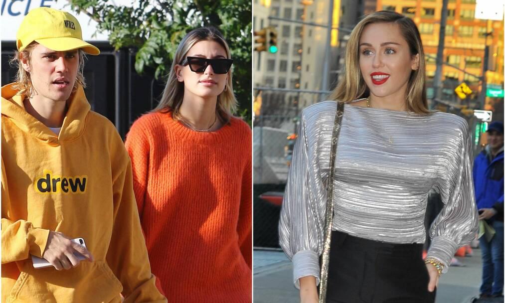 VENNER I DAG: Mens Justin Bieber og Miley Cyrus er gamle venner, så hadde kona hans, Hailey Baldwin, lenge et mer anstrengt forhold til popstjernen. Foto: NTB Scanpix
