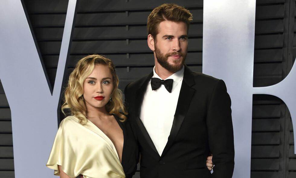 GIFTET SEG: I desember i fjor giftet Miley Cyrus seg med skuespillerkjekkasen Liam Hemsworth. Foto: NTB Scanpix