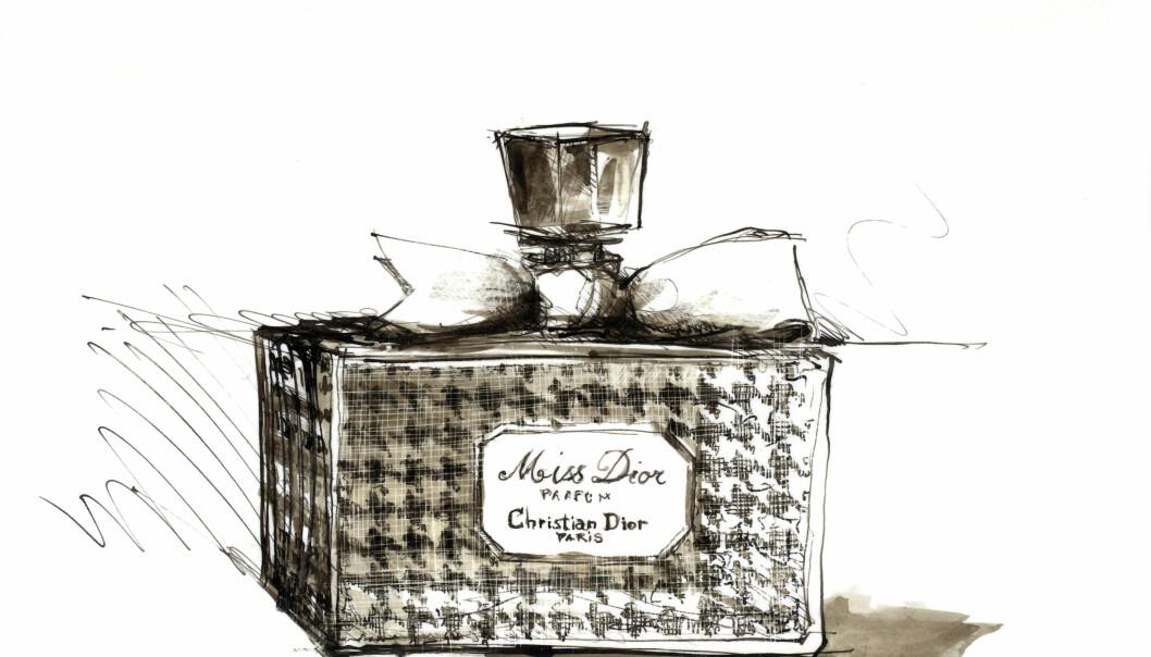 Illustrasjon av Miss Dior slik den fortsatt ser ut i dag. FOTO: DIOR
