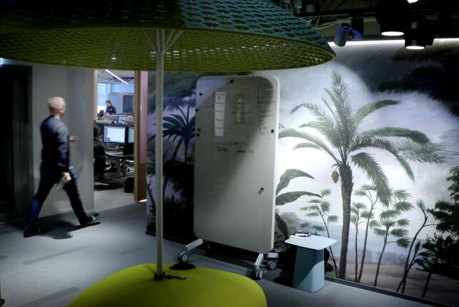 Palmer og parasoller hos utviklerne i Storebrand. Fordi hvorfor ikke. 📸: Ole Petter Baugerød Stokke