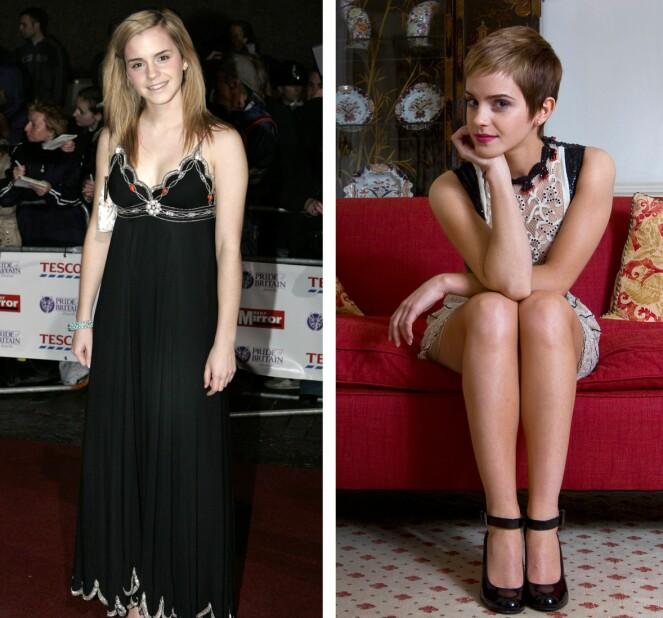 KLIPPET HÅRET: Emma Watson med langt Hermine Grang-hår i 2007 (t.v.), og med kort-kort frisyre før jul i 2010, etter innspillingen av den siste filmen. Foto: NTB scanpix
