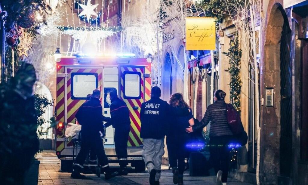 STRASBOURG: Tirsdag kveld ble to personer drept og en person erklært hjernedød i forbindelse med en skyteepisode i Frankrike. FOTO: Abdesslam Mirdass / AFP / NTB Scanpix