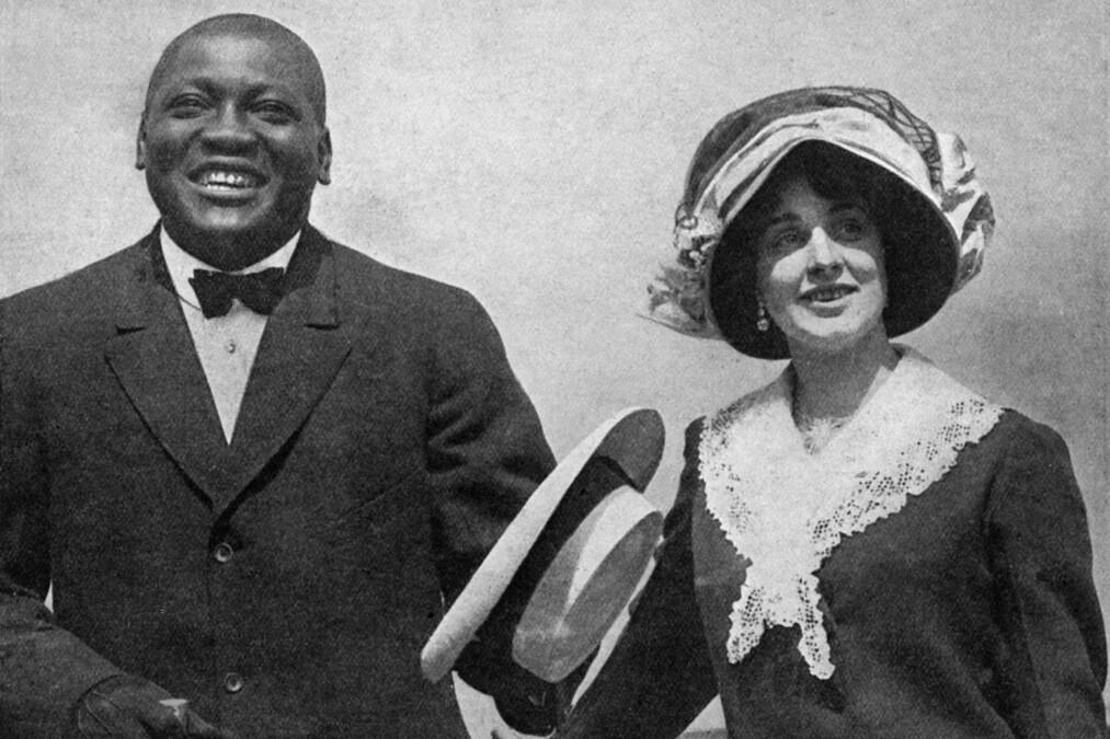 TRAGEDIEN: Jack Johnson giftet seg med Etta Terry Duryea i januar 1911. Året etter begikk hun selvmord. Foto: Mary Evans Pictures / NTB Scanpix