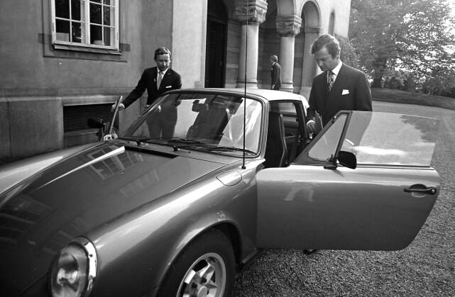 MYE OMTALT: Dette er den mye omtalte porschen til Carl Gustaf, der Silvia var passasjer. Foto: NTB Scanpix